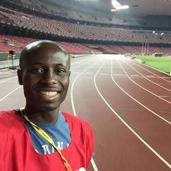Standing on the famous Beijing Olympics track. Said to be quite fast and home to famous world record
