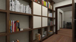 Дизайн коридора с библиотекой
