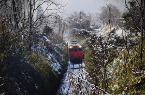 雪を纏った切通を行くキハ 弓削~神目 2018-1-23 河西さん  修正.jp