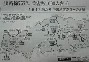 中国地方輸送密度図