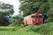 下弓削の大椋そばを行く列車