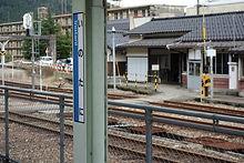 猪谷の駅名標と駅舎
