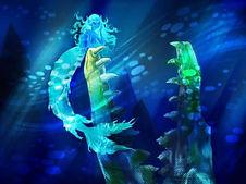 detailed digital painting of mermaid underwater in dark fantasy setting