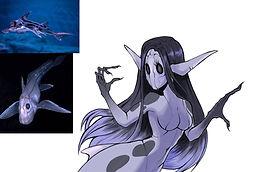 digital drawing of a sea creature inspired creepy mermaid