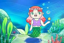 easy digital art of a mermaid underwater with kelp