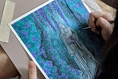 detailed watercolour painting of statue in fantasy forest