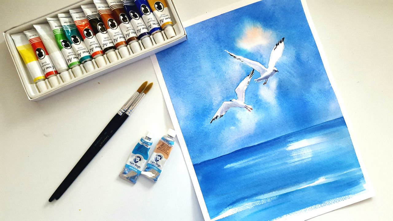 Watercolor painting class: The Sea