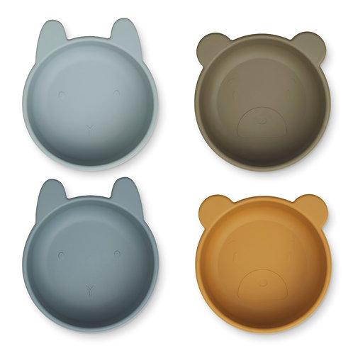 bols en silicone - golden caramel / blue multi mix LIEWOOD