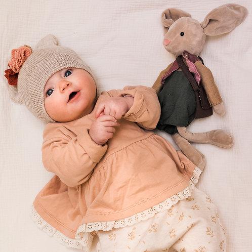 Bonnet à oreilles en laine mérinos BISOU Crème