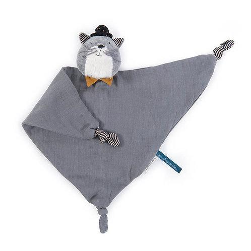 Doudou lange chat gris clair Les Moustaches Moulin Roty -