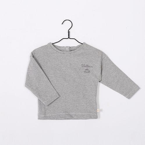 T-shirt en jersey TFORT Gris rayures. Broderie : Veilleur de nuit- LPC