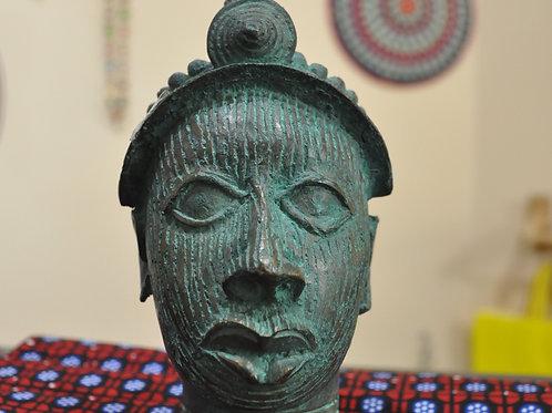 Benin Bronze Crowned Head (Ife Ethnicity)- Benin City - Nigeria