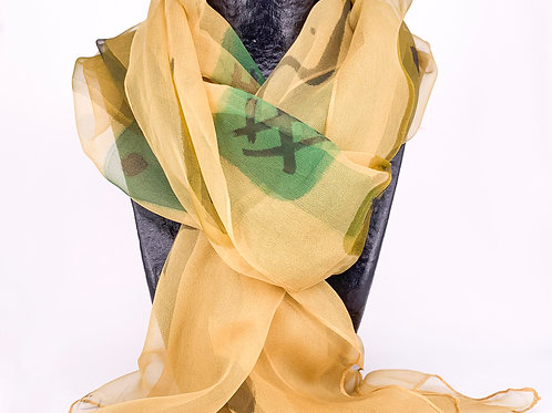 Hand Painted Silk Scarf - Beige and Green