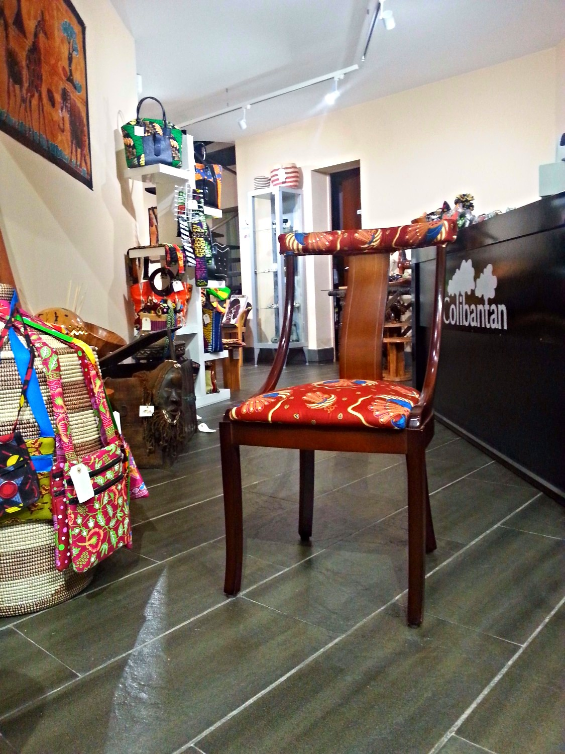 Mahogany chair & African upholstery
