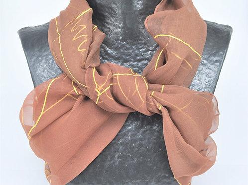 Hand Painted Silk Scarf - Golden Brown