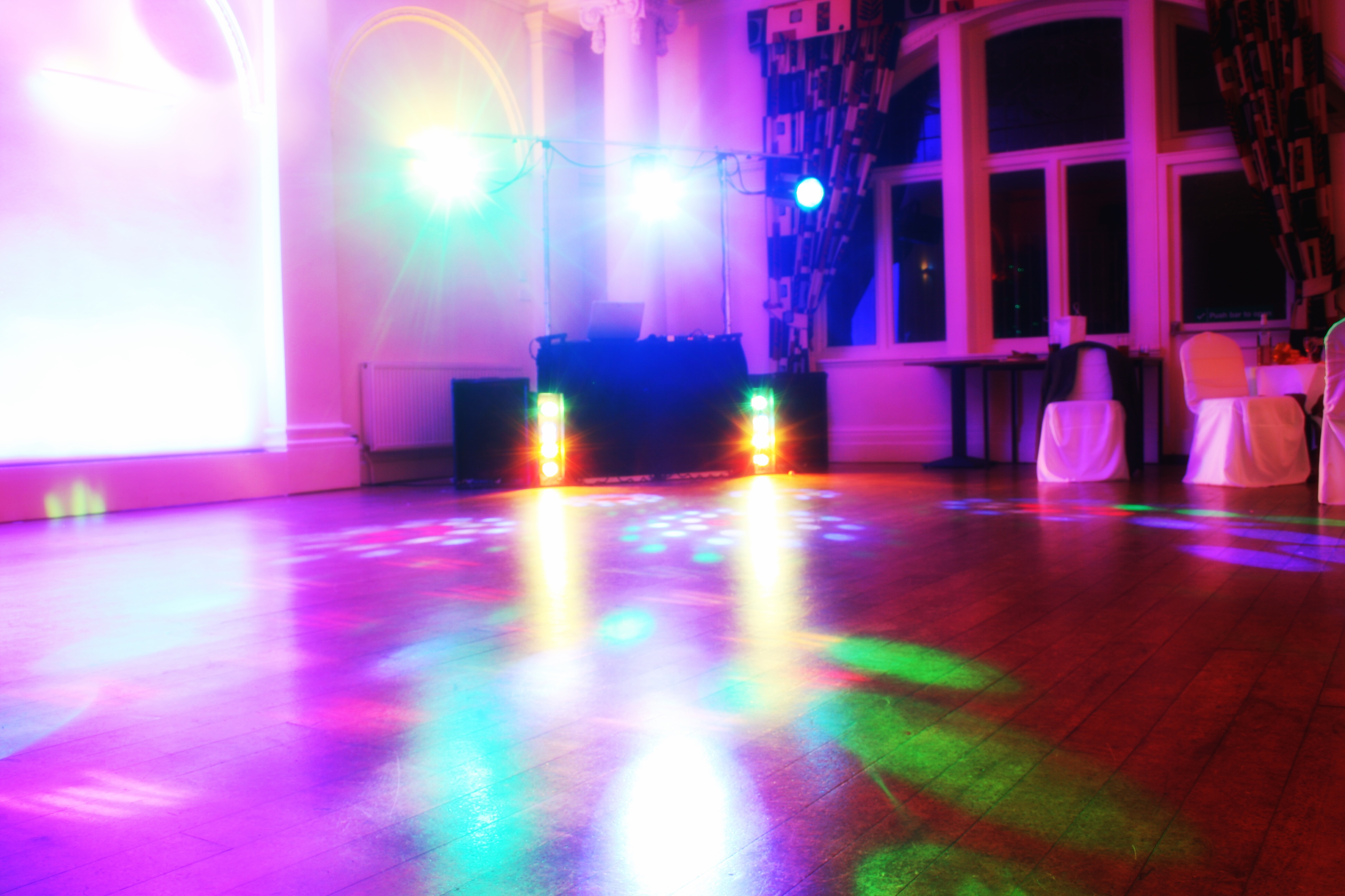 Mobile disco set up with lights