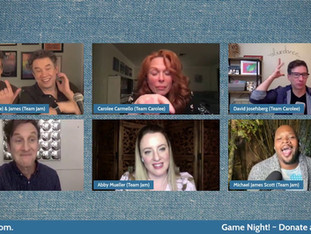 #316 Game Night with Carolee Carmello, David Josefsburg, Abby Mueller and Michael James Scott.  Donations tonight will be matched up to $1,500!  