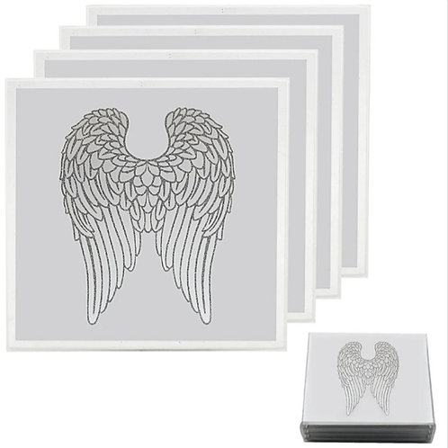 Glittery Angel Wings Cup Coasters
