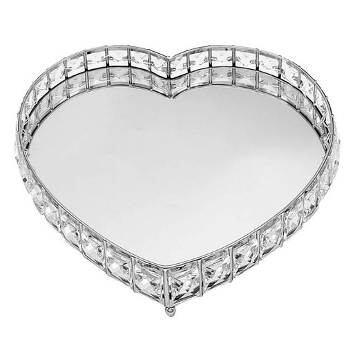 Large Mirrored Crystal Heart Tray