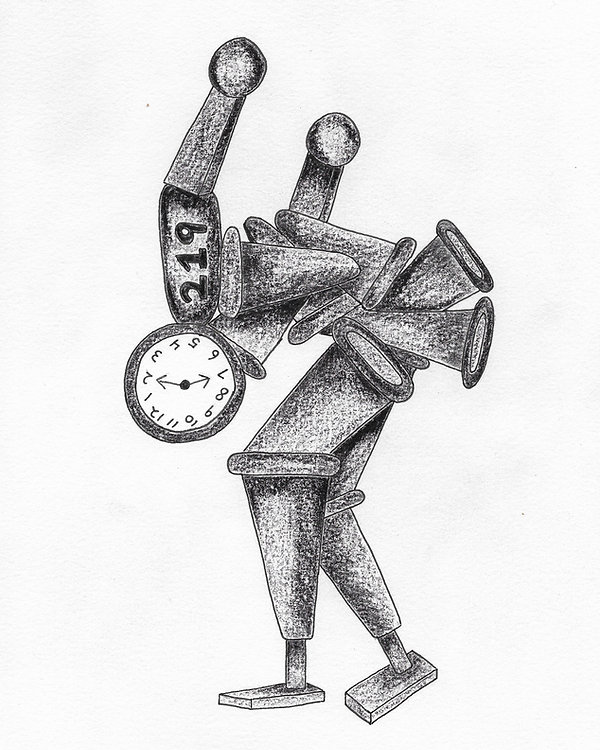 ORNGE CONE MAN TIME DRAWING CHRIS ATKINSON