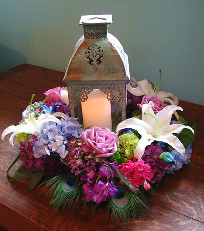 peacock lantern centerpiece