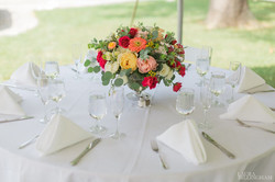 compote dish of flowers