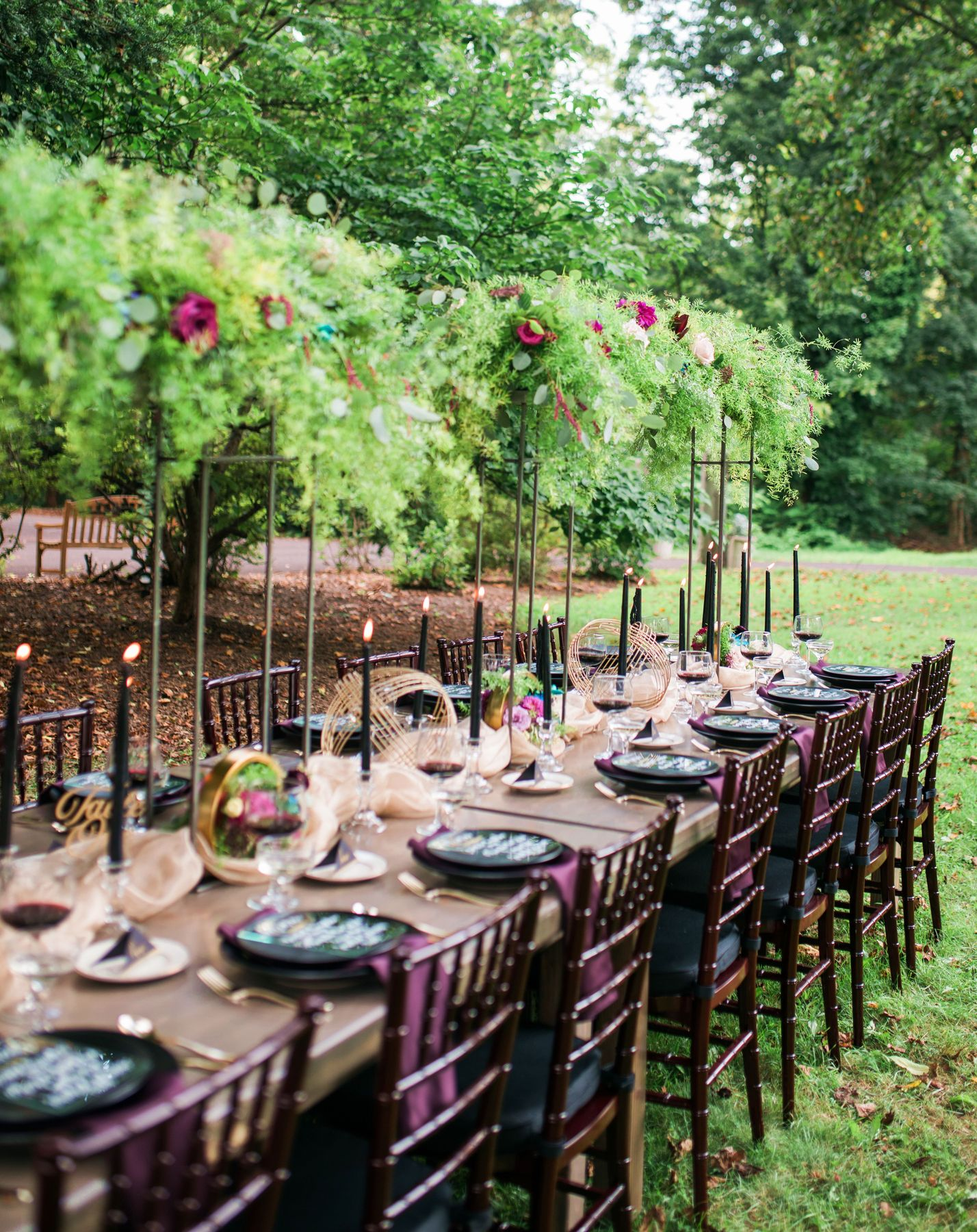 lush raised tablescape