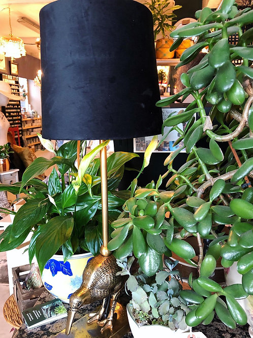 Kiwi lamp with velvet shade