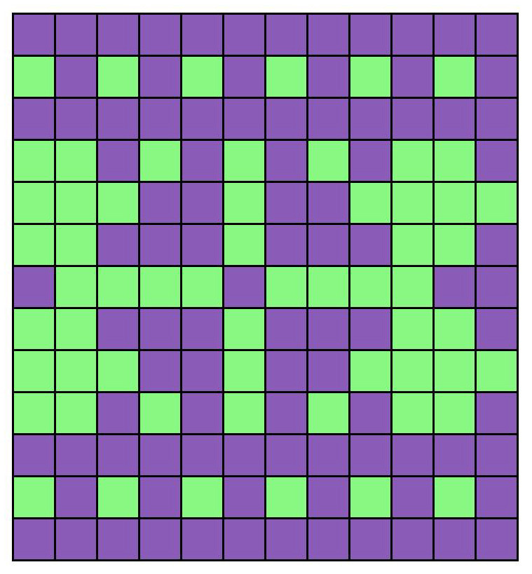 Simple stranded motif with colored squares