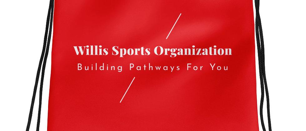 Building Pathways Red Drawstring bag