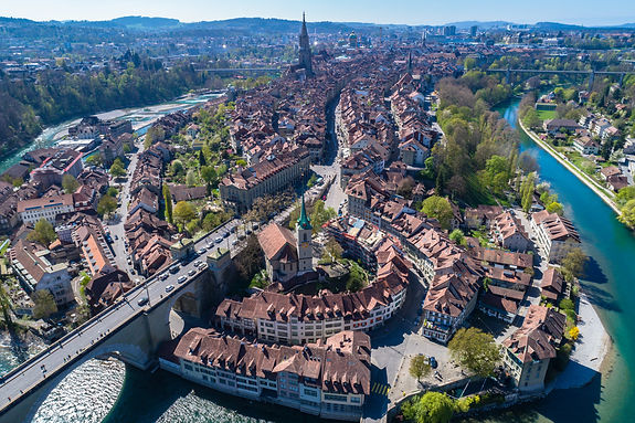 Aerial view of the Bern old town with th