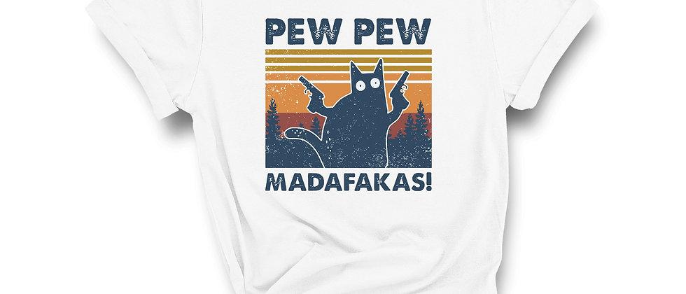 Pew Pew Cat Madafakas Retro Tee
