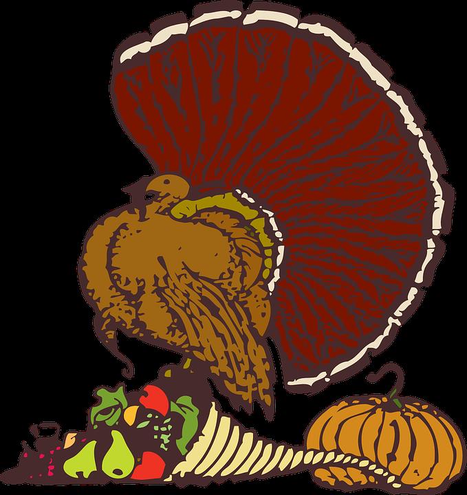 turkey with cornucopia filled with fruit