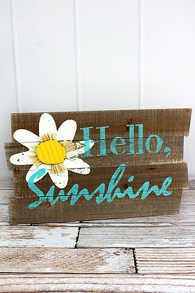 11.25 x 18.25 Hello Sunshine Wood Pallet Sign