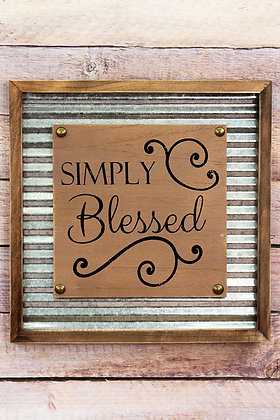 12 x 12 Simply Blessed Framed Tin and Wood Wall Sign