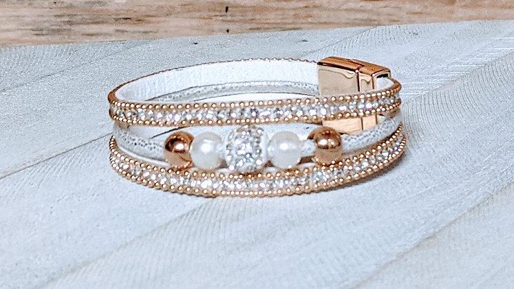 White/Gold, Gray/Gold, Black/Gold Multilayer Bracelet