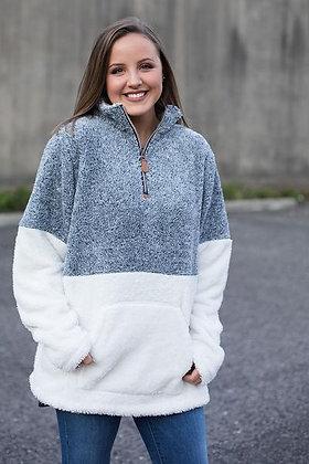 Colorblock 1/4 Zip Snowy Fleece with Front Pocket
