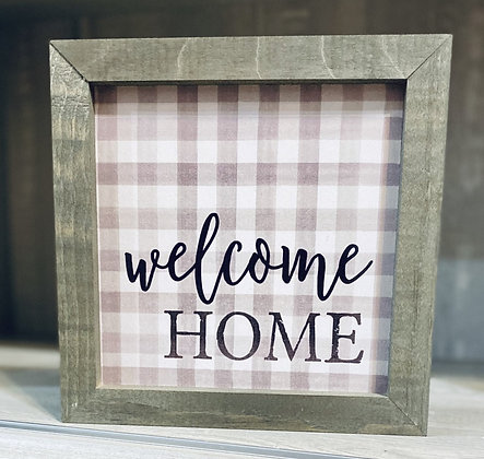 Framed Plaid Welcome Home Wood Sign