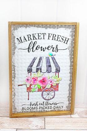 19 x 13.5 Market Fresh Flowers Framed Basket Weave Metal Wall Sign