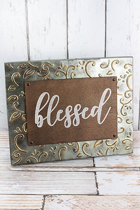 11 x 14 inch Blessed Embossed Metal Framed Wood Sign