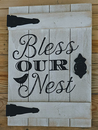 Bless Our Nest Wood Door Sign