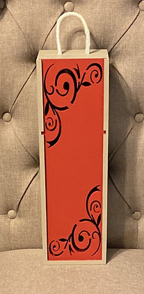 Red And Gray Wine Box With Detail Cut Out