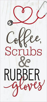 Coffee, Scrubs & Rubber Gloves Word Block