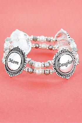 Antique Silvertone Mom and Daughter Pearl Beaded Stretch Bracelet