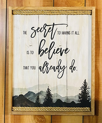 The Secret Wood Framed Scenic View Wall Sign