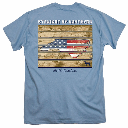 Straight Up Southern Patriotic Wood NC T-Shirt