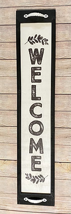 WOOD FRAMED VERTICAL WELCOME WALL SIGN
