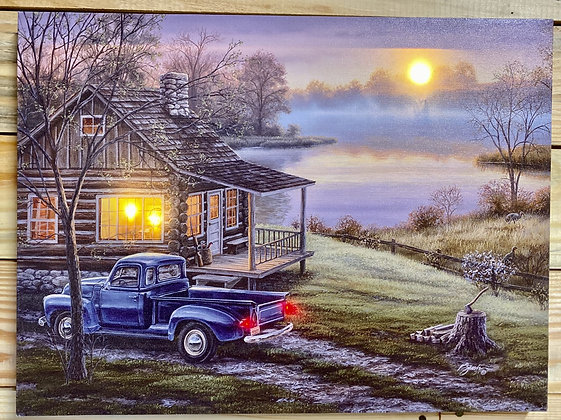 16 x 12 LED Truck and Cabin Canvas Wall Art