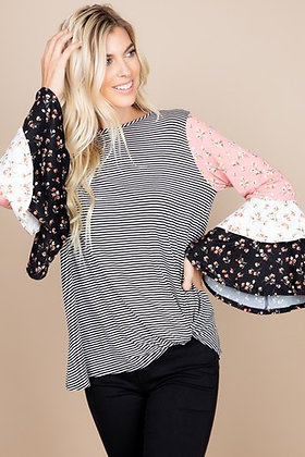 Floral Tiered Bell Sleeve Striped Top