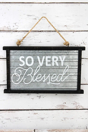 8.75 x 14.5 So Very Blessed Framed Tin Wall Sign